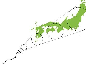 台風予想進路図の見方