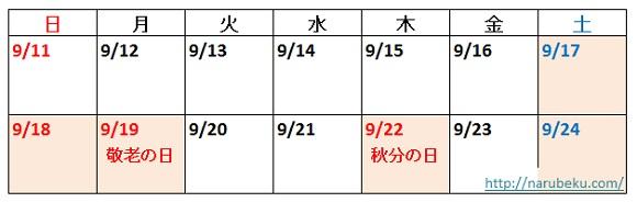 9月の連休カレンダー2016